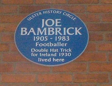 2337694a5eb Blue plaque noting six goal hero Bambrick s home in Belfast