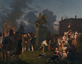Bowling Green (New York City) - Pulling Down the Statue of King George III, N.Y.C., (c. 1859) A romanticized Victorian era painting with historical inaccuracies: the sculpture is depicted in 1850s garb, and Native Americans, women and children are at the scene.