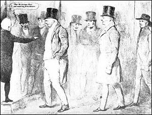 Drawing showing three new MPs, William Cobbett...