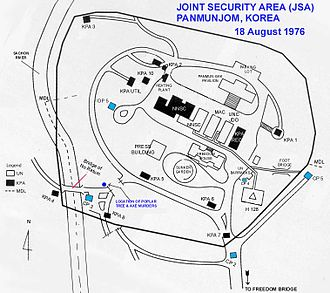 Korean axe murder incident - The layout of the Joint Security Area in 1976