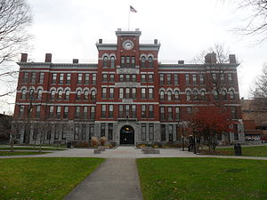 Clark University - Main façade of Jonas Clark Hall, the main academic facility for undergraduate students.