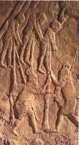 Book of Micah - Impalement of Judeans by Assyrian soldiers (Neo-Assyrian relief)