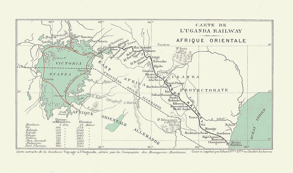 Carte du Chemin de fer de l'Ouganda en 1913.