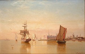 Julius Huth - Shipping in the sound on a calm day.jpg