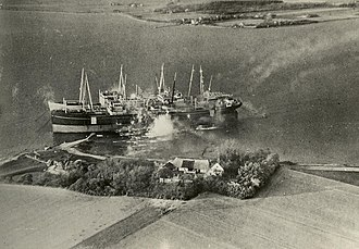 MS Jutlandia - The air raid of 3 May 1945. Java is in front, Falstria in the middle, and Jutlandia at the rear. The farm was hit and burned out completely.