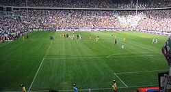 Inde i Juventus stadium i Turin