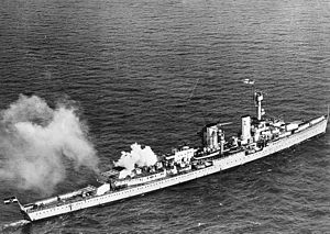 German cruiser Königsberg - Königsberg on her visit to Britain in 1934; she is flying the British White Ensign and firing a salute