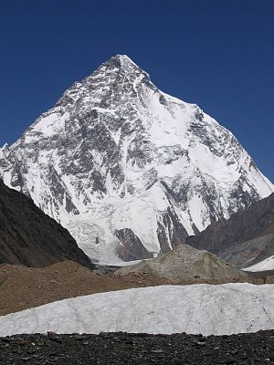 1953 American Karakoram expedition - K2 from the south. The Abruzzi Spur attempted by the expedition is the last spur before the right hand skyline. The highest point reached is the flattened part of the skyline at two-thirds height