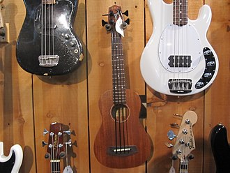 Music store - A selection of electric basses at a music store in Louisville, Kentucky.
