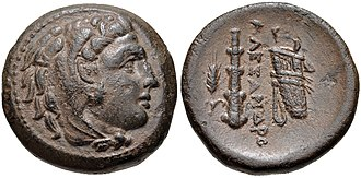 Asander - Image: KINGS of MACEDON. Philip III Arrhidaios. 323 317 BC. Æ Unit (18mm, 5.23 g, 3h). In the name and types of Alexander III. Miletos mint. Struck under Asandros, circa 323 319 BC