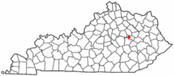 Location of Clay City, Kentucky