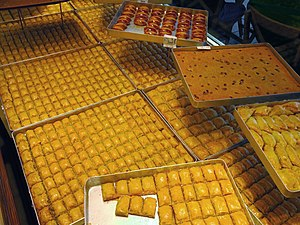 Baklava - Large baking sheets are used for preparing baklava.