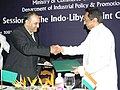 Kamal Nath and the Minister for Economy, Trade & Investment, Libya, Dr. Ali Abdullah Al-Essawi at the 10th Session of the Indo-Libyan Joint Commission, in New Delhi on July 12, 2007.jpg