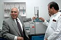 Kapil Sibal and the Minister of State (IC) for Food Processing Industries, Shri Subodh Kant Sahai testing equipment in newly inaugurated Food Research and Analysis Centre (FRAC), in New Delhi on September 22, 2006.jpg