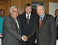 Kapil Sibal shaking hands with the Dy. Prime Minister and Finance Minister of Belgium, Mr. Didier Reynders after signing an MoU on Science & Technology Cooperation in the presence of the Belgian Prime Minister.jpg