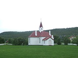View of the historic church in the village