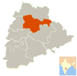 Karimanagar District's location within Telangana, India