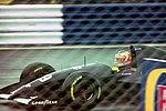 Karl Wendlinger - Sauber C12 heads for Copse during practice for the 1993 British Grand Prix (33686689005).jpg