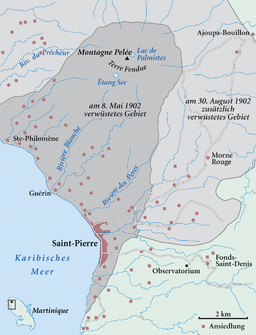 Karte Ausbruch Montagne Pelée 1902