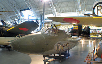Kawasaki Ki-45 - Remains of the only surviving Ki-45 KAIc on display at the Steven F. Udvar-Hazy Center in Chantilly, Virginia, with Schräge Musik type vertical cannon mount behind the cockpit