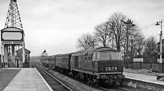 Kemble railway station - Diesel-hauled Up stopping train in 1962