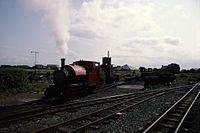 Kerr Stuart 0-4-2ST 4047 of 1921, running as 'Peter Sam' Tallylyn Railway, Tywyn Wharf 4.8.1994 Scans958 (10759368946).jpg
