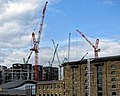 King's Cross Central development, Granary Square and tower cranes 01.jpg