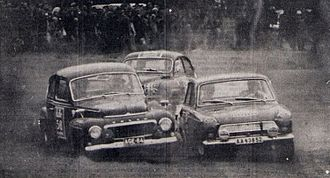Rally Finland - Leo Kinnunen and Bengt Söderström during the Hippos circuit stage in 1964