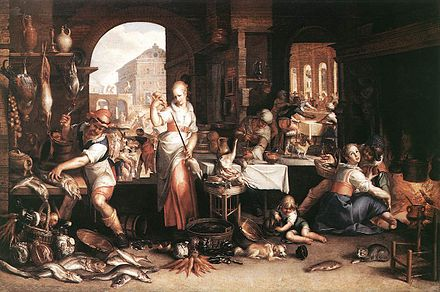 Joachim Wtewael's elaborate allegory presents itself as a Kitchen Scene with virtuoso passages of still life, 1604 Kitchen Scene-Joachim Wtewael.jpg