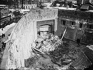 Knickerbocker storm - Interior of the Knickerbocker Theater after the collapse of the roof as a result of the weight of snow from the storm.
