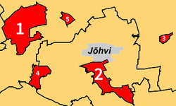 Ahtme (marked 1) and other districts of Kohtla-Järve