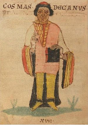 Cosmas of Prague - Miniature depicting Cosmas, from Lipský rukopis, an early  ms. of Chronica Boemorum