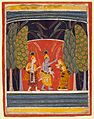 Krishna Making Kubja Beautiful, Folio from a Bhagavata Purana (Ancient Stories of the Lord) LACMA M.72.1.27.jpg