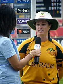 Karen Rolton being interviewed
