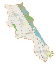"""Mapa konturowa gminy Krzyżanowice, po prawej nieco na dole znajduje się punkt z opisem """"Roszków"""""""
