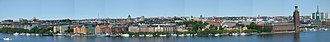 Kungsholmen (borough) - Panorama of Kungsholmen, view from Södermalm. The City Hall is on the far right (June 2005, collage)