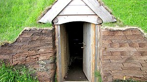 L'Anse aux Meadows - Entrance of reconstructed Norse sod house