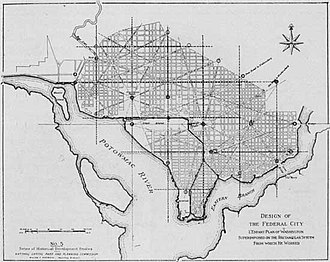 History of Washington, D.C. - Design of the Federal City: L'Enfant Plan of Washington Superimposed on the Rectangular System From which He Worked (1930)