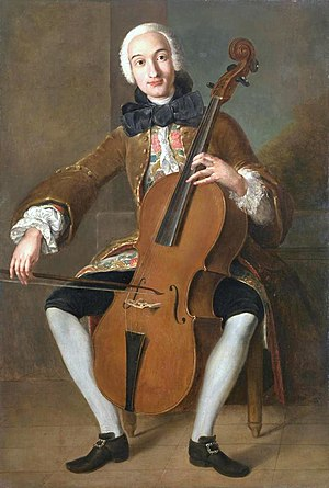 Luigi Boccherini - Luigi Boccherini playing the cello. Pompeo Batoni (c. 1764–1767)