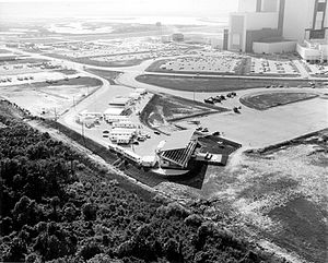 Launch Complex 39 Press Site - Aerial view of the Press Site in May 1969 looking north with the VAB at upper right