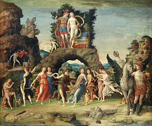 Parnassus (Mantegna) - Image: La Parnasse, by Andrea Mantegna, from C2RMF retouched