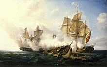 A naval painting in which a badly damaged ship in the foreground is flanked by two lightly damaged ships that are firing on the central vessel.