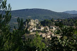 A view of La Roque-Alric from the nearby hillside