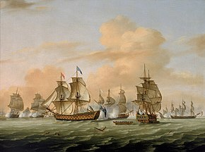 an oil painting showing several 18th-century warships fighting