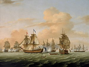 Sir Robert Harland, 1st Baronet - The Battle of Lagos in 1759 off Portugal - painting by Thomas Luny