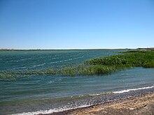 el tema las aguas estancadas los lagos de agua salada, sus caracteristicas, ejemplos del mundo. 220px-Lake_Balkhash_May_2007_2