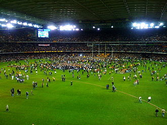 "Pitch invasion - This pitch invasion occurred in 2008 when Lance ""Buddy"" Franklin booted his 100th goal in the final round of the regular AFL season."