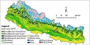 Geography of Nepal - A land cover map of Nepal using Landsat 30 m (2010) data.