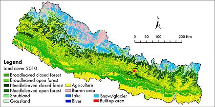 This land cover map of Nepal using Landsat 30 m (2010) data shows forest cover is the dominant type of land cover in Nepal Land cover map of Nepal using Landsat 30 m (2010) data.jpg