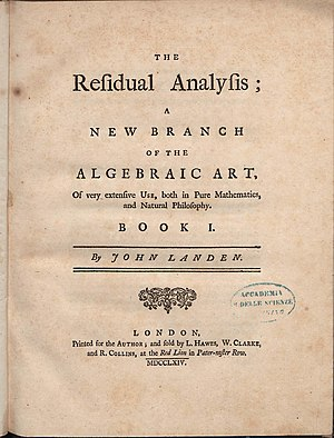 John Landen - The residual analysis, 1764